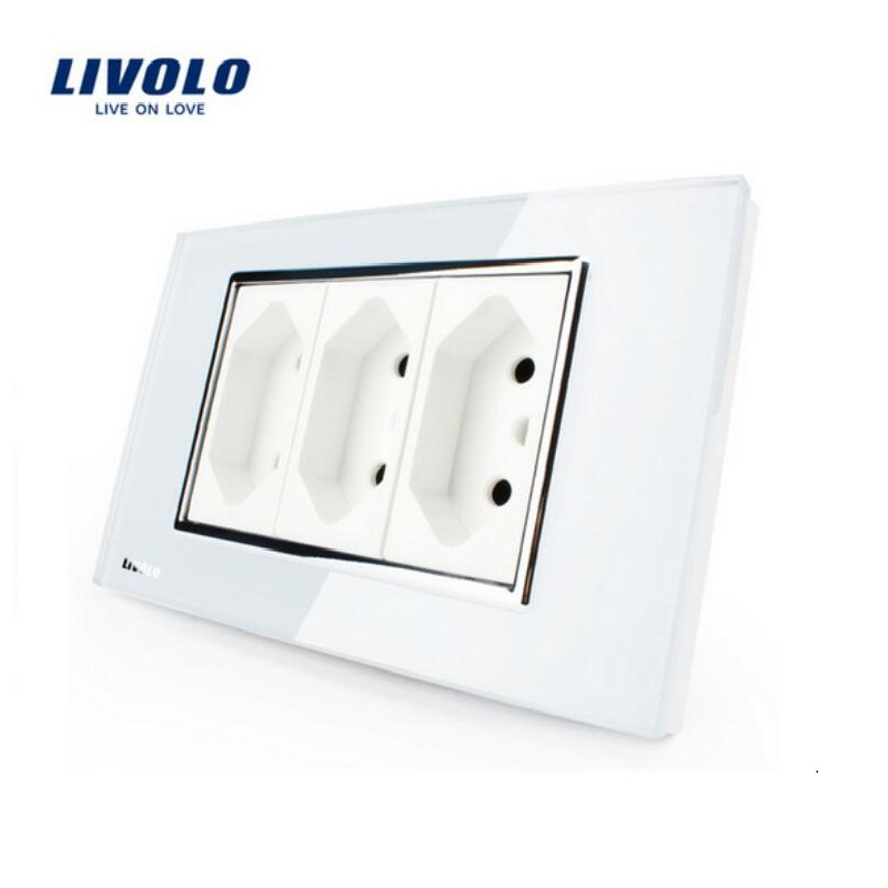 Livolo Wall Powerpoints 3 Pins Socket,118mm*72mm,10A, 250V, White/Black Without Plug,VL-C3C3BIT-81/82,Brazilian/Italian Standard livolo us standard 2 pins socket white crystal glass 10a ac 125 230v wall powerpoints with plug vl c3c3a 81