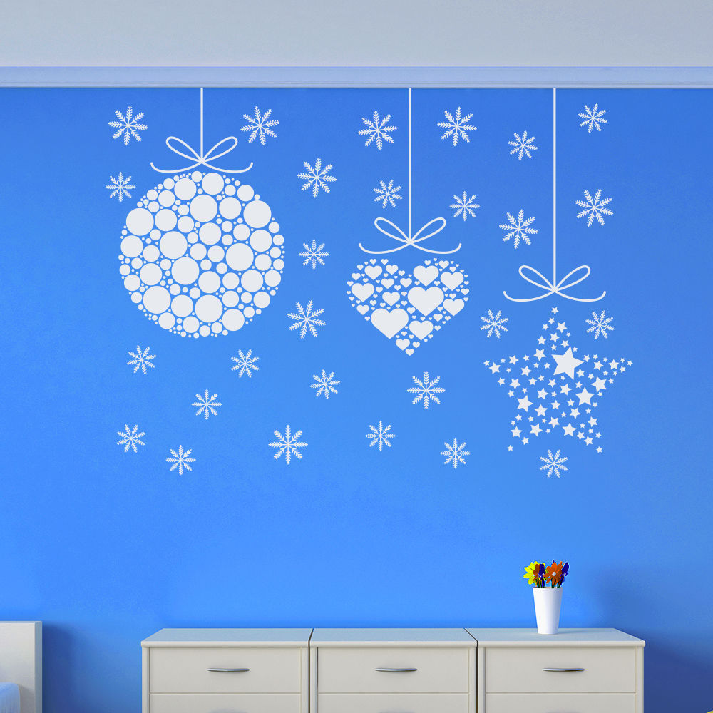 Merry Christmas Removable Vinyl Wall Sticker Christmas Balls Art Design Wall Decals Home Window Art Decor Newest WallpaperD 167 in Wall Stickers from Home Garden