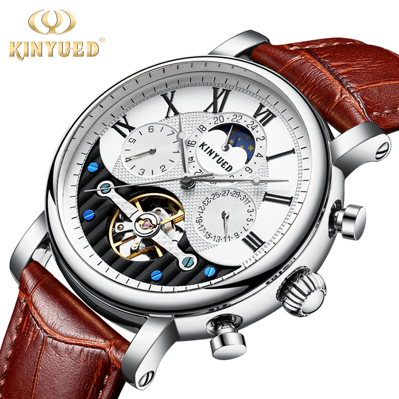 цена на KINYUED Top Brand Business Men Luxury Automatic Watch Moon Phase Mens Skeleton Mechanical Watches Sports Leather erkek kol saati