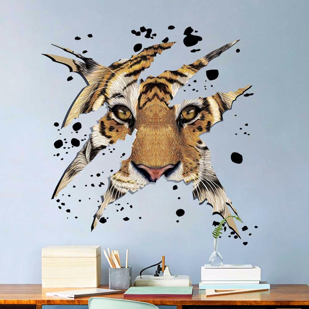 New Qualified Dropship Company Office Decorations Domineering Tiger Head Wall Stickers adesivo de parede Se26