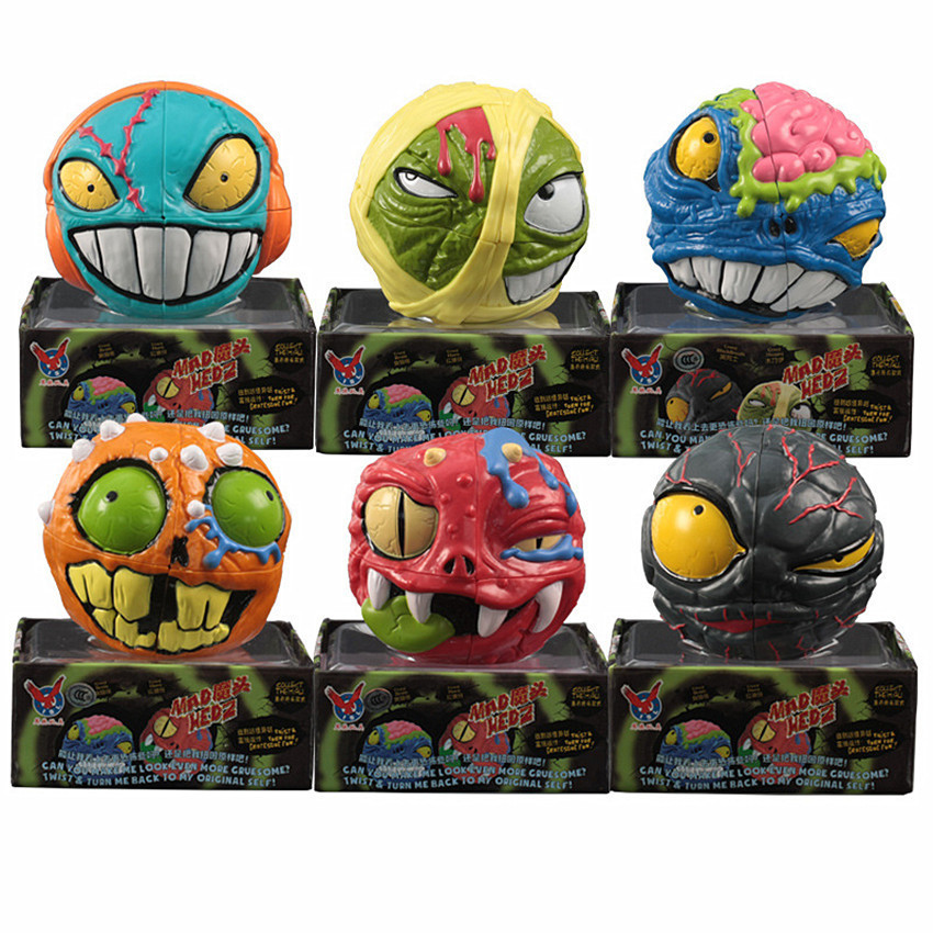 Crazy Brain 2x2x2 Puzzle Ghost Skull Head Cartoon Irregular Cube Monster Head Puzzle Speed 3D Magic Cubes Children Toys Gifts ...
