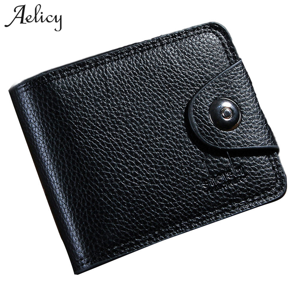 Aelicy casual men wallets leather men wallet short coin purse small vintage wallet men leather wallets male purse money credit