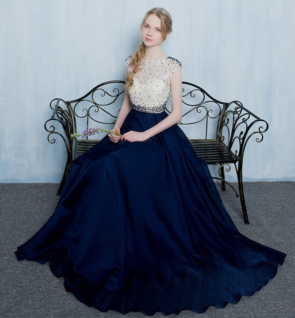 Wunderschöne Sleeveless Perlen Spitze Chiffon Dark Navy Prom Kleider ...