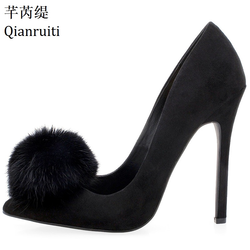 Qianruiti Hot Sale Faux Suede Thin Heels Women Shoes Sexy Pointed Toe Women Pumps Red Blue Fox Fur Pom Poms High Heels Shoes big size 40 41 42 women pumps 11 cm thin heels fashion beautiful pointy toe spell color sexy shoes discount sale free shipping
