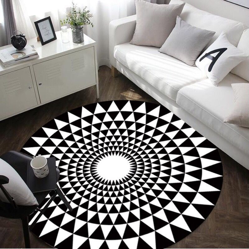 Modern Geometry Carpet Black White Round Rug Carpets For Living Room