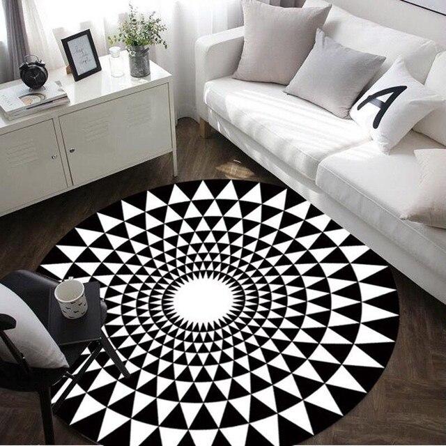Moderne Geometrie Teppich Schwarz Weiß Runden Teppich Teppiche Für  Wohnzimmer Tapete Para Sala Yuga Matten Tapis