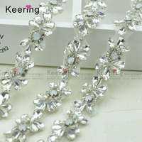 10 Yards Wholesale Hand Sewing Bridal Beaded Crystal Rhinestone Pearl Applique Trim For Wedding Dress