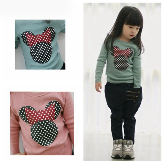 Minnie Print Girls Tshirt For Girls 2019 Spring Casual Baby Girl Clothes T Shirt Children T-shirt Clothes Warm Clothing 2-8Y