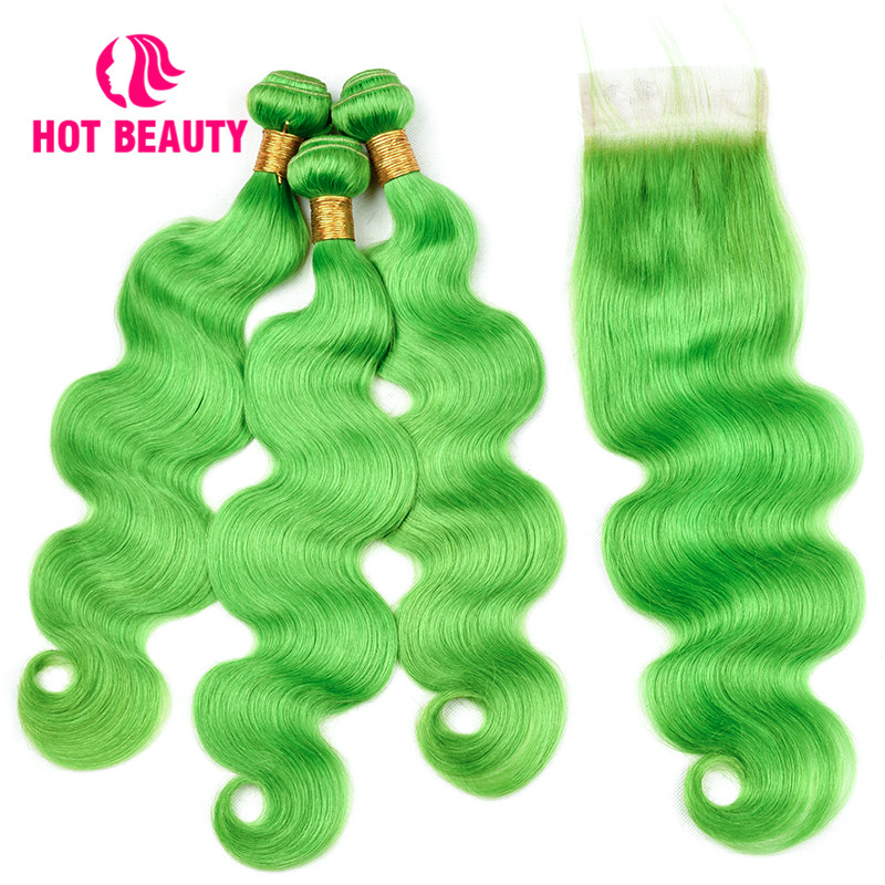 Hot Beauty Hair Human Hair Lace Closure 3 Bundles with Closure Color Bundle Green Body Wave