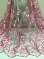 5Yards/lot 2018 High Quality Nigerian French Lace African Lace Fabric For Men/Women Dress pink Africa Lace Fabric