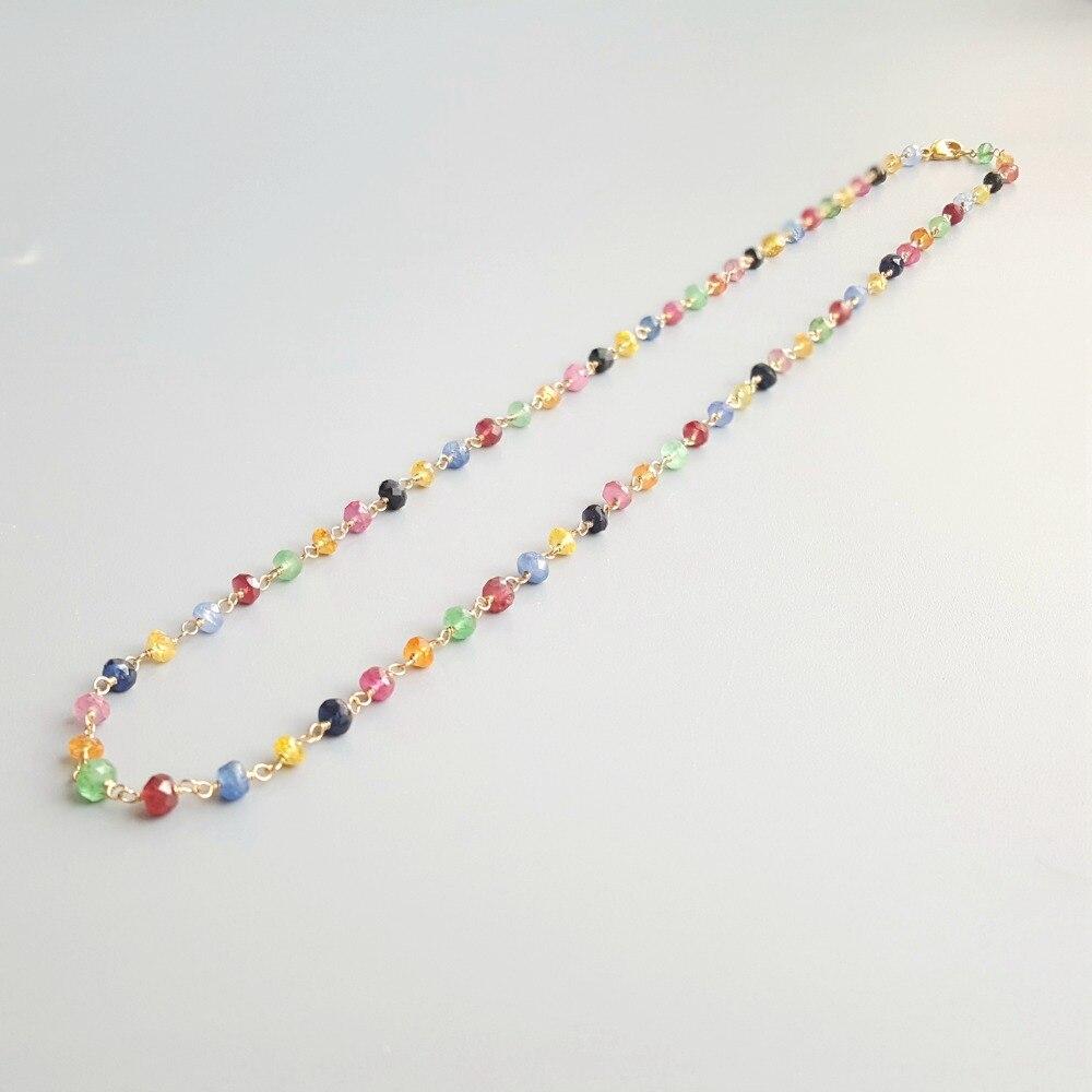 Lii Ji collier de pierres précieuses naturelles Multi saphir rubis émeraude 925 argent Sterling plaqué or à la main collier délicat pour cadeau