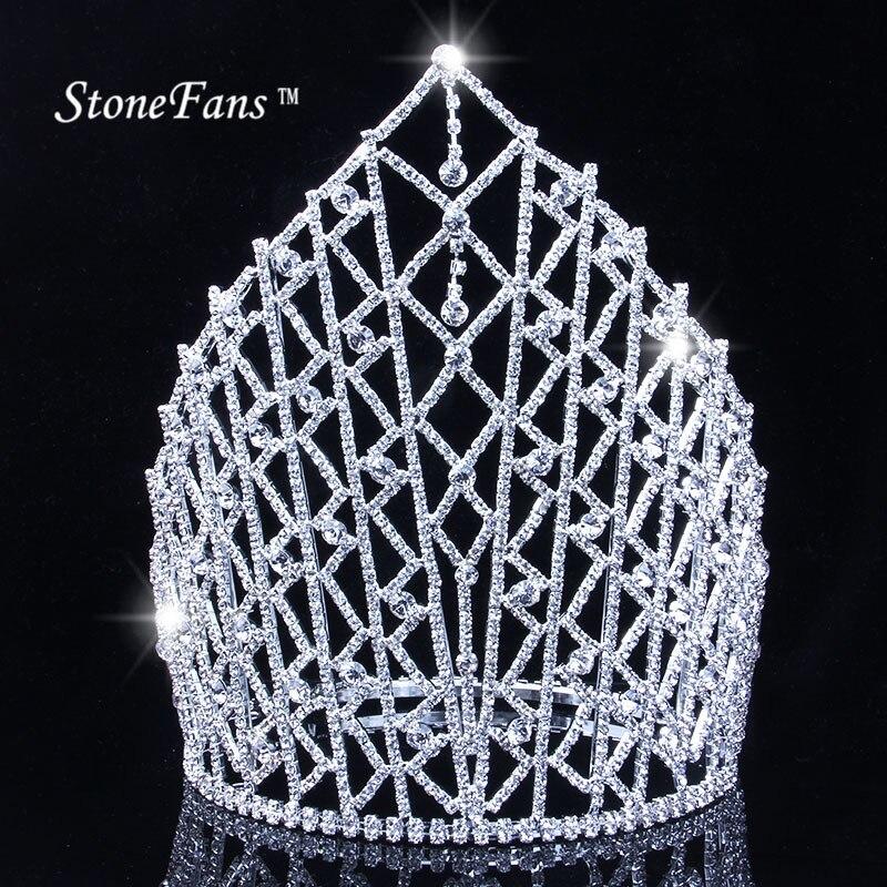 "Royal Brides 9"" Tiara Bridal Wedding Crowns W/ Hair Combs Clear Rhinestone Crystal Silver Headband Beauty Pageant Prom Jewelry"