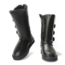 TIIDA Women's Snow Boots Waterproof  Winter Boots Genuine Sheepskin Leather Fashion High Warm Natural Fur Wool Women Boots