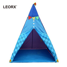 Foldable Kids Teepee Play Tents Indoor Outdoor Portable Playhouse Travel Camping Game Tent for Children (Sky)(China)
