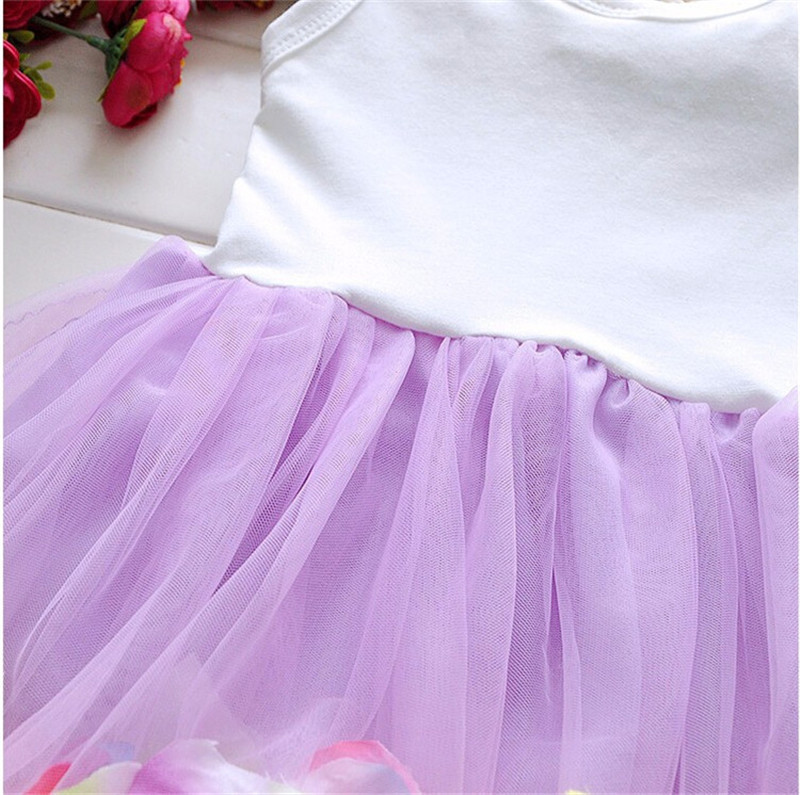 2016 Summer Newborn Infant Flower Dress Sleeveless Patchwork Petal Pattern Toddler Infant Clothes Dress Floral Round Neck (3)