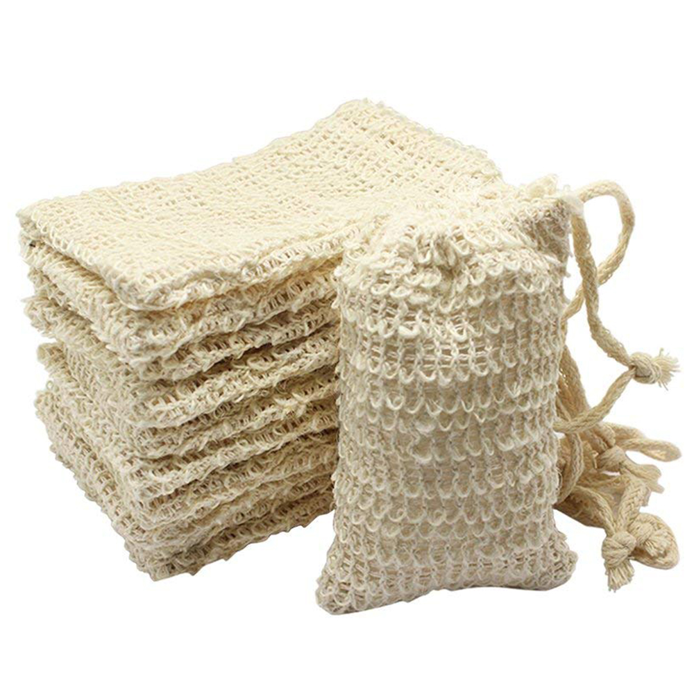 10 Pack Natural Sisal Soap Bag Exfoliating Soap Saver Pouch Holder