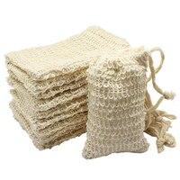 10 упак. Природный сизаля мыло Bag Отшелушивающий мыло Saver Чехол держатель