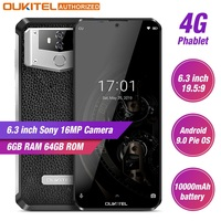 OUKITEL K12 10000mAh 5V/6A Quick Charge 4G LTE Smartphone 6.3 FHD+ 19.5:5 Waterdrop Android 9.0 Octa Core Mobile Phone 6GB 64GB