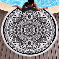 Black and White Toalla Floral Blanket Indian style Round Beach Towel Boho Tassel Mandala Lotus Tapestry 150cm Big Area Yoga Mat