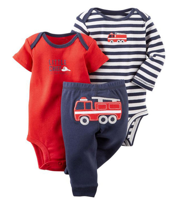 Infant 0-2Y Baby Boy girl 3 Pieces Sets Character Fire Truck Striped Short Sleeve One Piece Romper Full Length Pants New Brand