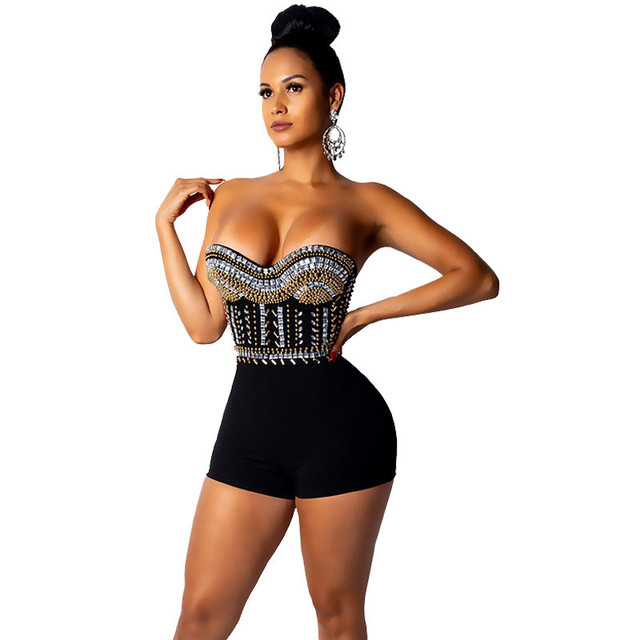 e0fbcd4e435 Sexy Sparkly Rhinestone Jumpsuit Shorts Overalls Women Elegant Strapless  Birthday Party Playsuits Glitter Sequin Jumpsuit Romper