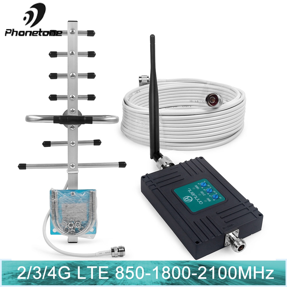 2G 3G 4G Triple Band Cell Phone Signal Booster 70dB 850 LTE Repeater Gsm 1800 WCDMA 2100mhz Mobile Cellular Repeater Antenna Set