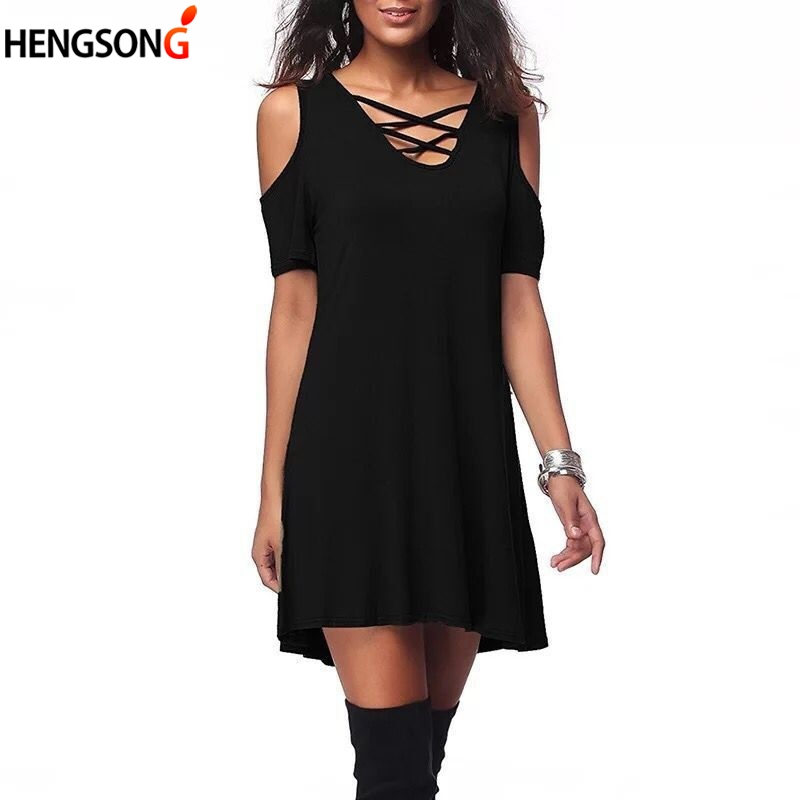 Solid Casual Dress Female Women Summer Beach Dress Sexy Hollow Out V-Neck Lace-Up Low Cut Dress For Women Mini Dress Fashion