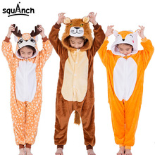 Kids Animal Onesies Lion Deer Fox Kigurumi Flannel Warm Soft Sleep Suit Boy Girl Festival Christmas Party Funny Cartoon Pajamas(China)