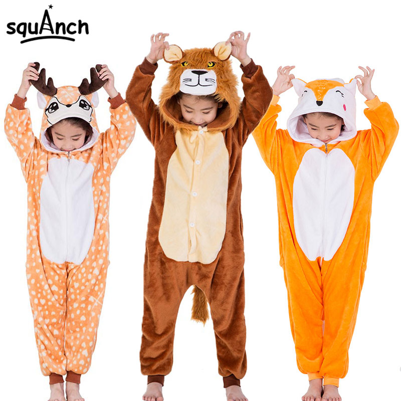 Kids Animal Onesies Lion Deer Fox Kigurumis Flannel Warm Soft Sleep Suit Boy Girl Festival Christmas Party Funny Cartoon Pajamas