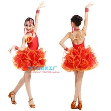 Adult Child Latin dance costume diamodn spandex latin dance dress for Adult children latin dance competition dresses S-4XL