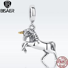 Authentic 925 Sterling Silver Licorne Animal Pendant Beads Fit For Charm Bracelet Berloques De Prata Pulseira Jewelry Making