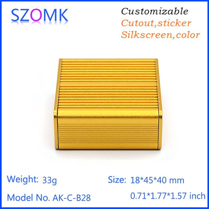 1 piece free shipping golden color small aluminum heat sink junction box 19(H)x45(W)x75(L) mm free shipping 20pcs aluminum heat sink 25 x 25 x 10mm electrical accessories