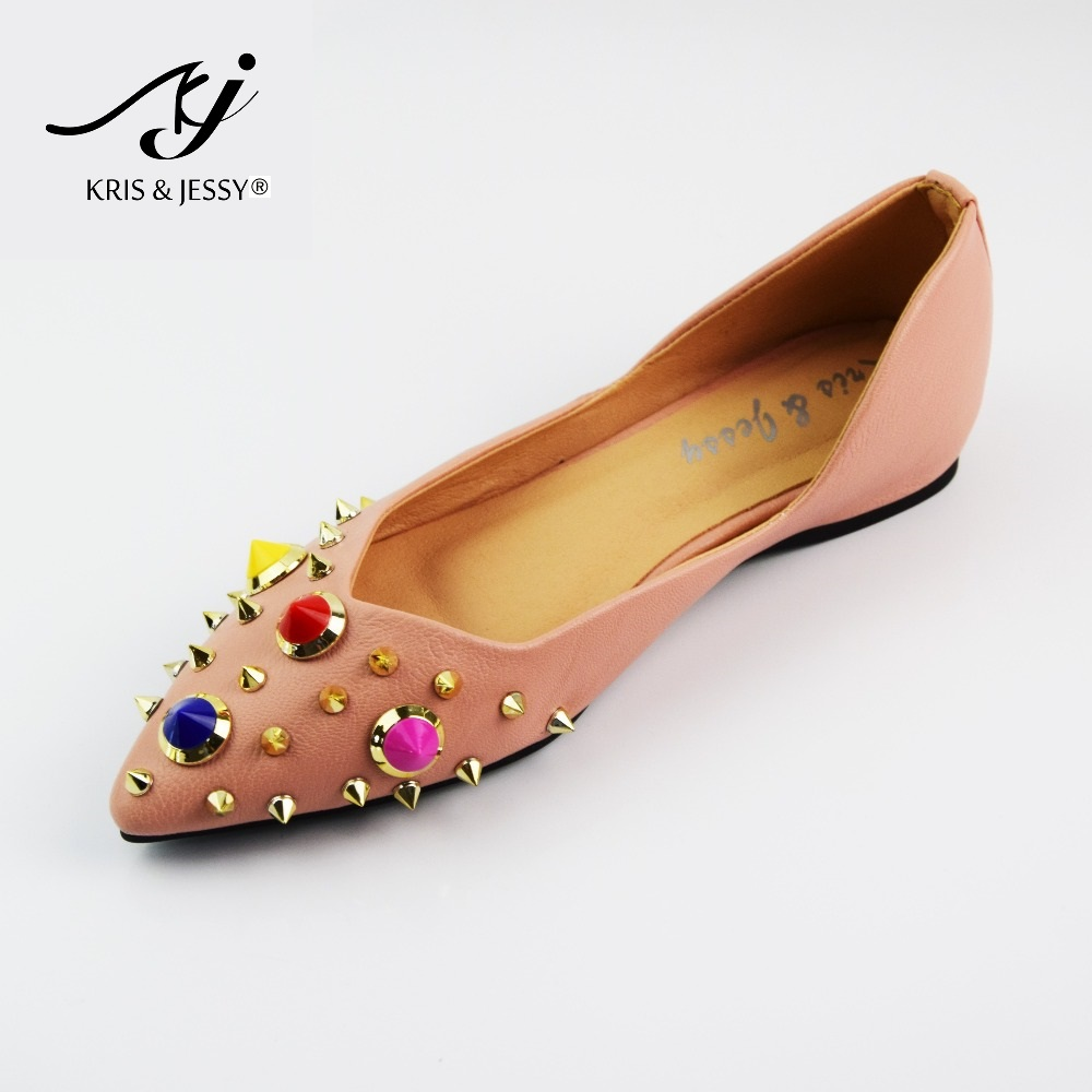 Kris & Jessy New Fashion Casual Women Pointed Toe Rivet Flat Bottom Shoes Women Slip On Flats Pink Color Zapatos Mujer 2017 new fashion spring summer boat shoes women candy color flats pointed toe slip on flat fashion casual plus size pu shoes