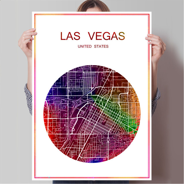 Abstract world city map las vegas usa print poster print on paper or canvas wall sticker