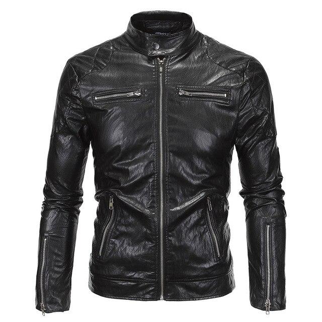 2016 Mens Pu Leather Biker Jackets Coat Winter Stand Collar Slim Pocket Design Chaqueta Moto Cuero Homme Deri Ceket Erkekler 5xl