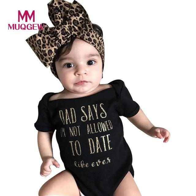ccd551b8a MUQGEW Baby Girls clothes set Newborn Infant Letter Romper Jumpsuit Headband  black Outfits Girls Clothes Summer