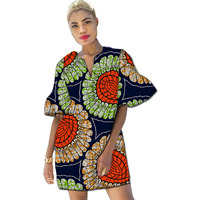 Women Dashiki Tops Flare Sleeve Design T Shirt Ankara Prints African Clothes Fashion For Party Weding