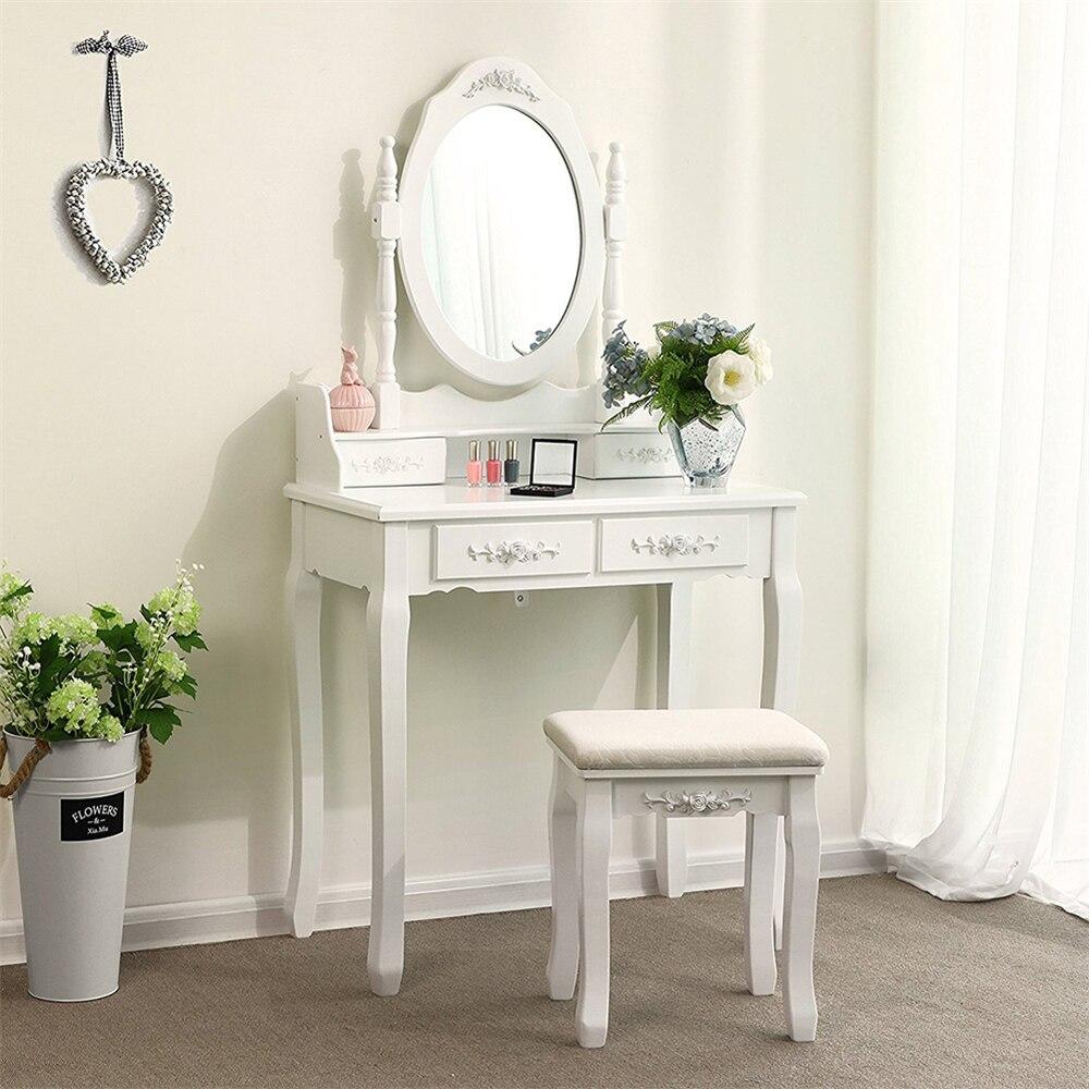 Современный европейский стол для макияжа, комод, стол с зеркалом, 4 выдвижных ящика, деревянный столик с табуретом, мебель для спальни, HWC - 3