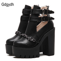 Gdgydh Spring Autumn Fashion Ankle Boots For Women High Heels Casual Cut outs Buckle Round Toe Chain Thick Heels Platform Shoes