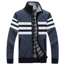 Men Fleece Sweater Casual Style Stand Collar Cotton Material Thin Wool Warm Thick Sweatercoat Autumn Winter Cardigan Size M-3XL
