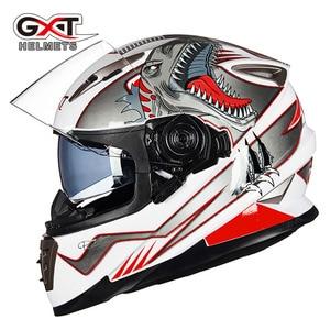 Image 3 - Winter Weiß dinosaurier GXT Doppel objektiv Volle Gesicht moto rcycle Helm, männer moto moto rbike helm mit Integrierten objektiv kann versteckte