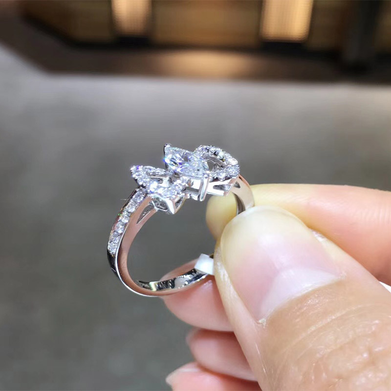 ANI 18K White Gold AU750 Wedding Ring 0 569 CT GIA Certified E SI1 Marquise Cut Real Natural Diamond Women Engagement Ring in Rings from Jewelry Accessories