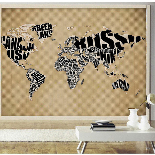 Large Textured Embossed HD Photo Retro English Paper World Map 3D Room Wallpaper Mural Rolls For