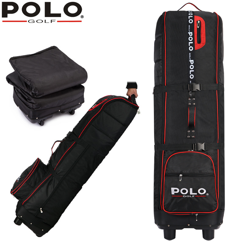 цена на brand POLO, Golf thicker airplane bag with rubber wheel, Big containing space flexible application golf  flight bag