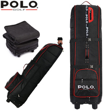 brand POLO, Golf thicker airplane bag with rubber wheel, Big containing space flexible application golf  flight bag