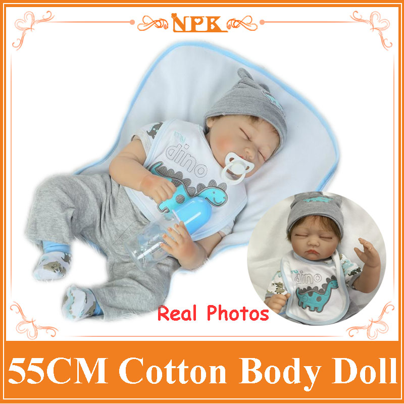 Soft Bed Play Toy 55cm 22inch Realistic Baby Doll With Magnetic Pacifier Wholesale Hot Style Sleeping Reborn Doll As Girls' Gift creative mustache style infant pacifier