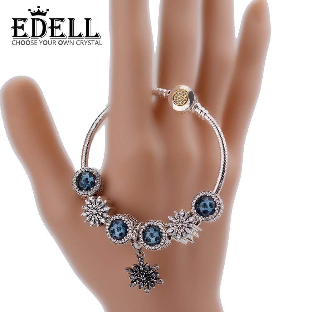 EDELL Fashion Silver Women Friendship Charm Bracelets Bangles Snowflake Pendants Charms Bead fit European Pan Bracelets friendship bracelets