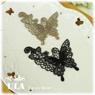 Wholesale Butterfly designs applique 2colors DIY Decoration Lace Fabric Paste Decoraive Cloth Paste and Lace Applique  40pcs/lot