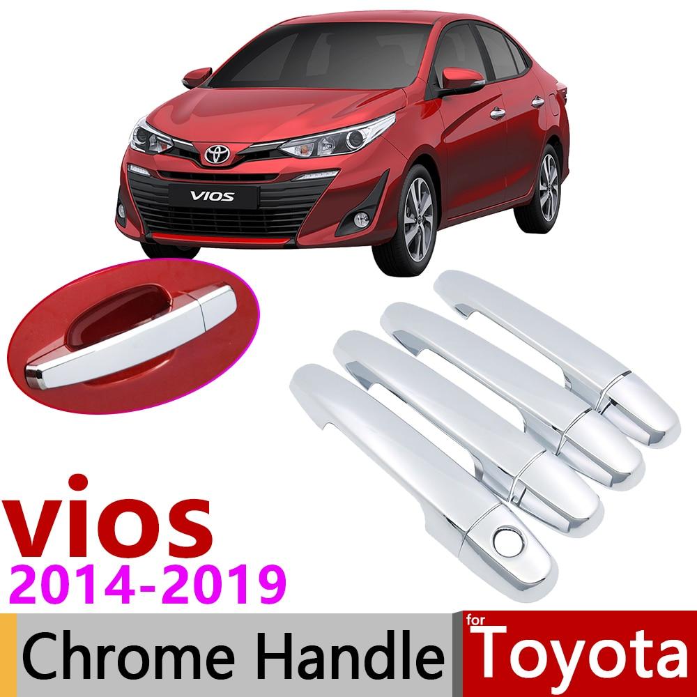 4Pcs Chrome Exterior Door Handle Cap Decor Fit Toyota Vios Yaris Sedan 2007-2012