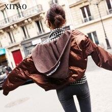 [XITAO] 2016 Корея женская мода Современный уличный стиль с капюшоном парки женский сплошной цвет старинные полный рукав с капюшоном парки HYX004